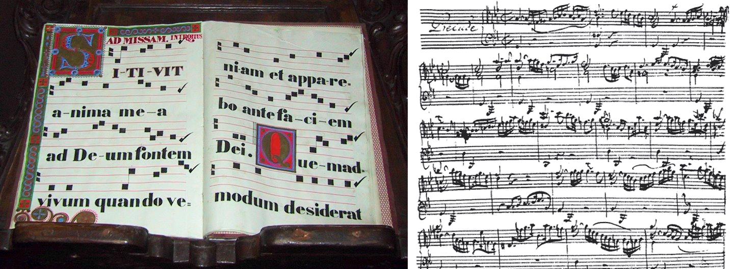 Примеры ранней музыкальной нотации и ручной записи нот И.С.Баха
