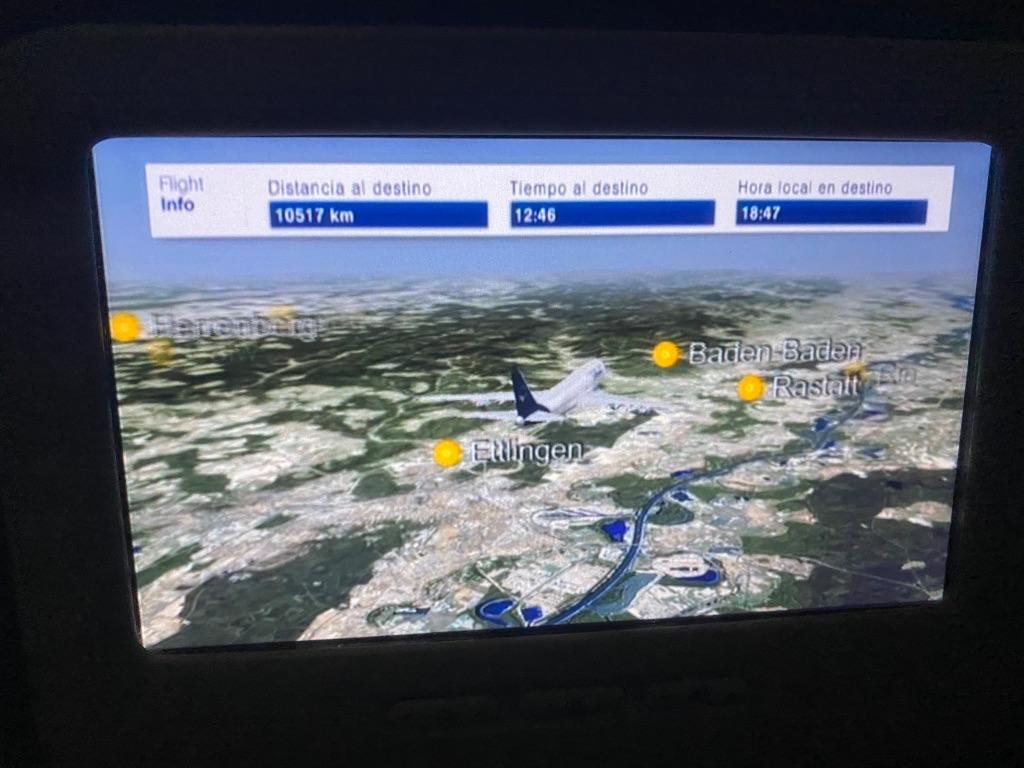 Экран Люфтганзы с дистанцией и временем пути